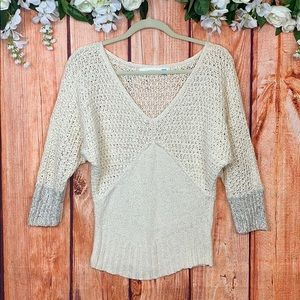 Sparrow Cable Knit Chenille V-neck Sweater